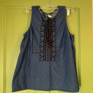 Old Navy embroidered denim tank